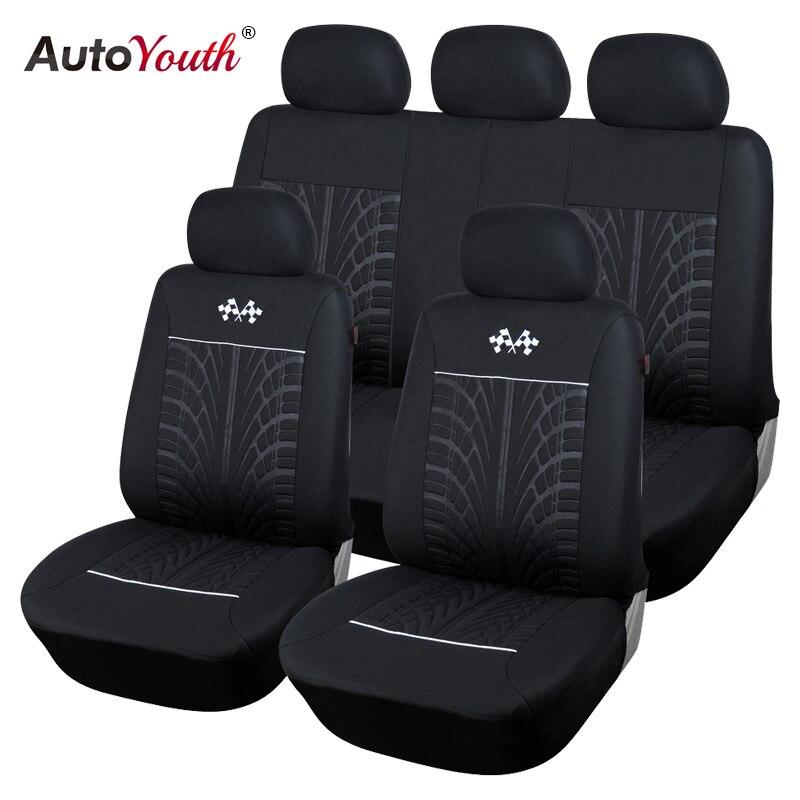 AUTOYOUTH deportes fundas de asiento de coche Universal Fit la mayoría de los asientos de vehículo de marca Protector de asiento de coche accesorios interiores cubierta de asiento negro