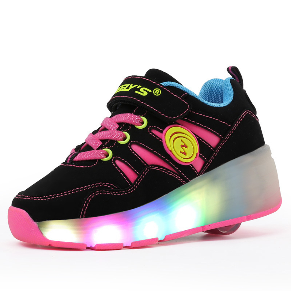 Boys Girls LED Roller Shoes Single Wheel Double Wheels Flashing Breathable Roller Skates Outdoor Sports Gymnastic Technical Skateboarding Sneakers Trainers Boys' Shoes