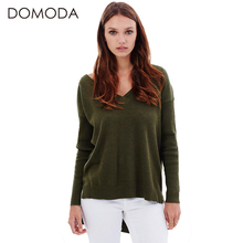 DOMODA Backless Knitted Sweater Women Long Sleeve V-neck Cross Back Solid Army Green Sweater Ladies High-Low Pullovers Female