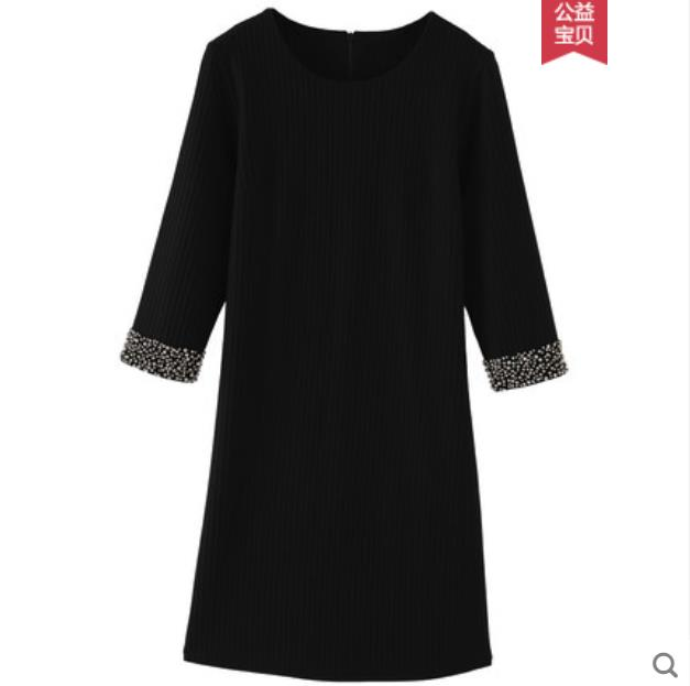 Big size women s dress 2018 autumn winter new fat mm huitong beads covering belly show