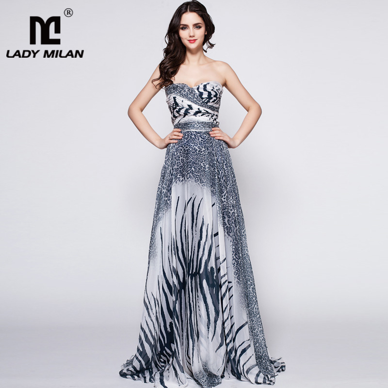 2018 Womens Sweetheart Strapless Neckline Zebras Printed Ruched Bodice Color Block A Line Party Prom Fashion Long Maxi Dresses
