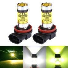 2 adet H8 H11 9005 HB3 9006 HB4 araba sis LED ışık Canbus DRL araba sürüş sis lambası koşu 20LED 2835 100W 12V beyaz yeşil sarı