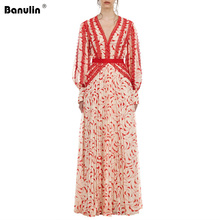 Banulin Runway 2019 Women Summer Red Floral Print Lace Sexy V Neck Long Maxi Holiday Party Dress Vestidos Robe Femme