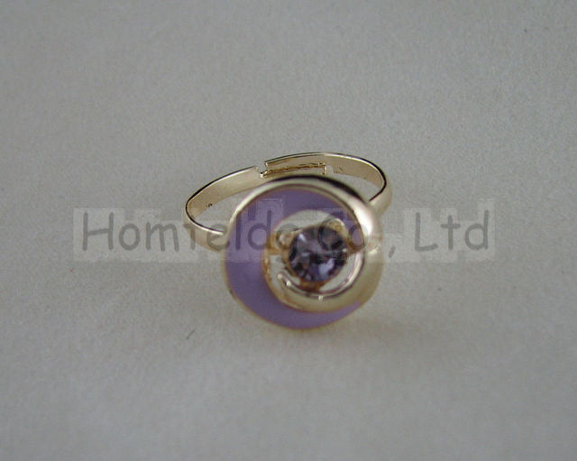 Free shipping sweet and fashional purple spiral coil-shape  zircon inlaid gold-plating toe ring by hand set ht-sp0031