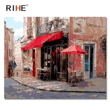 RIHE Coffee Shop Diy Painting By Numbers Abstract Corner Oil On Canvas Cuadros Decoracion Acrylic Wall Picture For Room