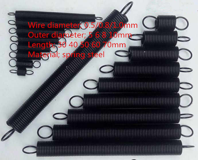 5pcs/lot wire Dia.;0.5/0.8/1.0mm  L=30 40 50 60 70 80mm  Spring steel small Tension Spring With Hook For Tensile