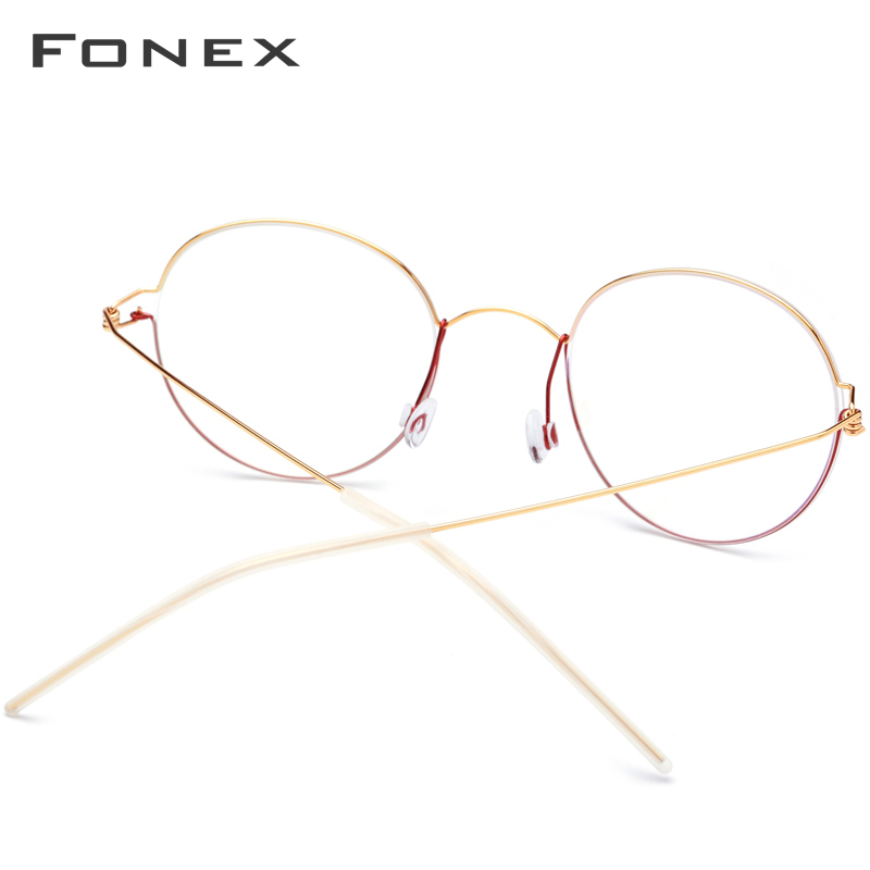 Image 3 - FONEX Titanium Alloy Optical Glasses Men Prescription Eyeglasses Frame Korean Denmark Women Myopia Screwless Eyewear 98621-in Men's Eyewear Frames from Apparel Accessories