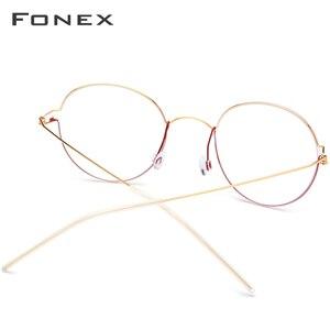 Image 3 - FONEX, gafas ópticas de aleación de titanio, gafas graduadas para hombres, montura de gafas coreanas de Dinamarca para mujeres, gafas sin tornillos para miopía 98621