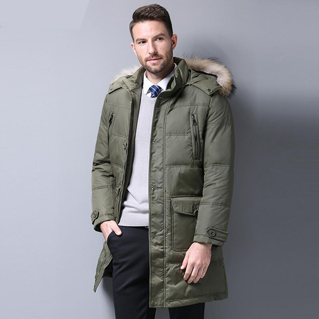 4e186af56 US $346.66 43% OFF|Men's Down Jacket 90% Duck Down Winter Jacket Warm  Medium Long Down Coat Fur collar Hooded Outerwear Top Quality 4XL Men  Parkas -in ...