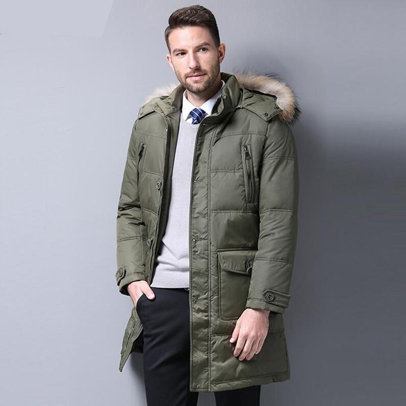 Men's   Down   Jacket 90% Duck   Down   Winter Jacket Warm Medium Long   Down     Coat   Fur collar Hooded Outerwear Top Quality 4XL Men Parkas