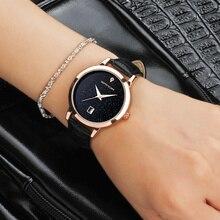 Para mujer reloj sanda reloj de cuarzo vestido de las mujeres reloj de señoras de la manera ocasional impermeable de cuero pulsera reloj montre femme