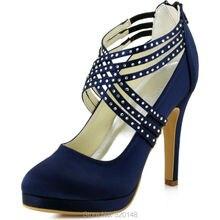 Women High Heel Shoes Cross Strap Zip Rhinestones Platform Satin Bridesmaids Wedding Evening Party Pumps EP11085 Navy Blue Teal