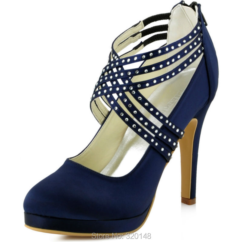 Women Shoes High Heel Pumps Platform Prom Party Cross Strap Crystal Satin Las Wedding Bridal Ep11085 White Ivory Navy In S From