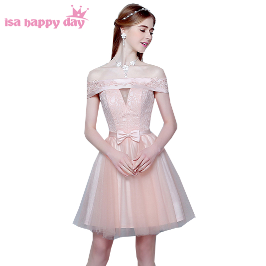33484d17d65 bridesmaid girl lace light pink knee length dress to party off shoulder lace  up teen puffi short dresses 2019 for girls H3669