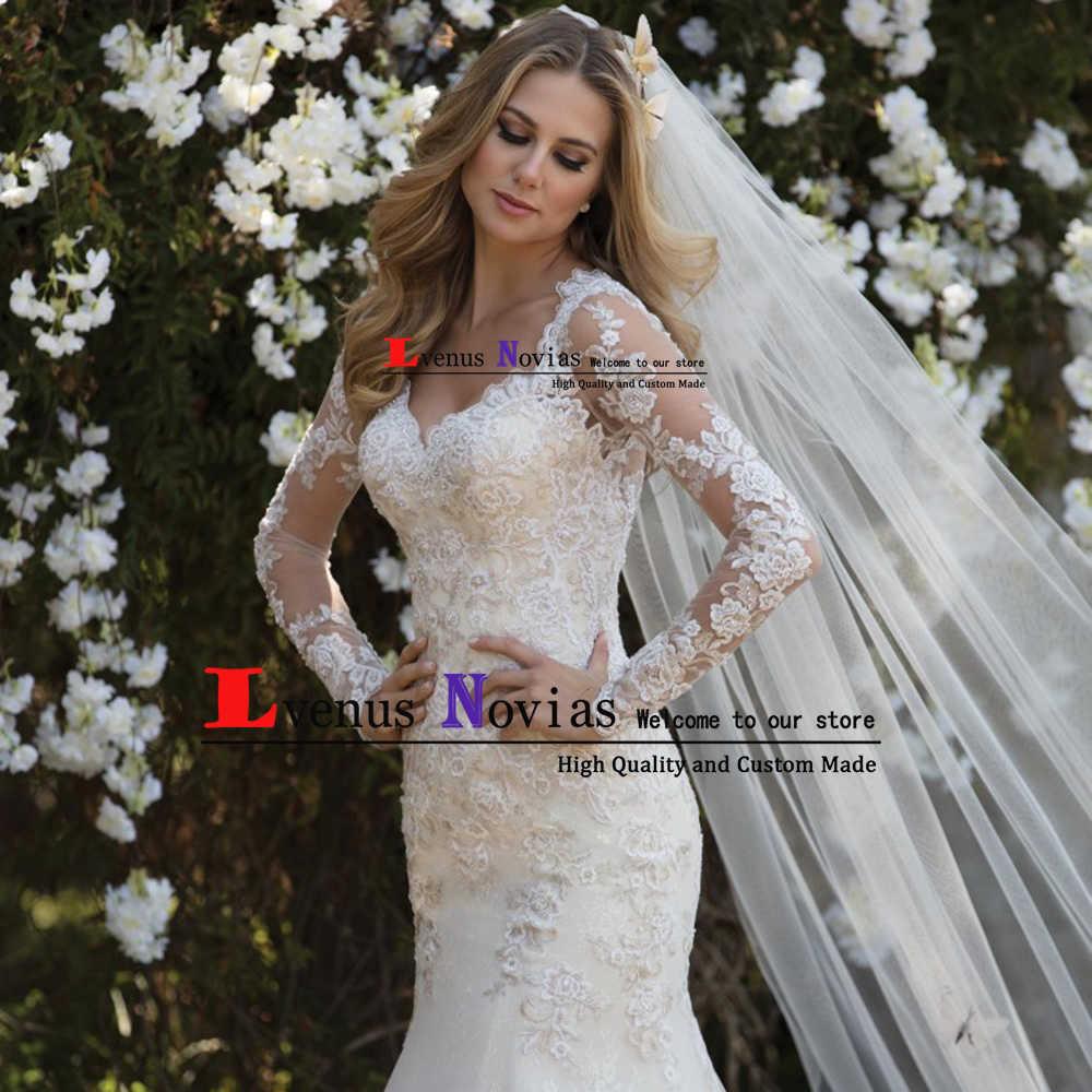 Vestido novia bohemio רומנטי פניני תחרה ארוך שרוולי שמלות כלה 2019 סקסי בת ים חתונת שמלות robe דה mariee Casamento