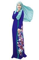 2016 Latest Muslim Womens Abaya Dress O Neck Long Sleeve Floor Length Loose Printed Islamic Jilbab