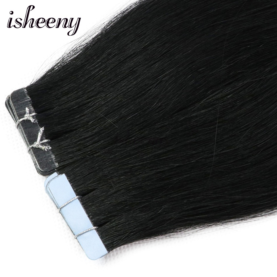 """Isheeny 16"""" 18"""" 20"""" 22"""" Premium Remy Double Drawn Tape In Human Hair Extensions Black Brown Blonde Pure Color 20pc 40pc"""