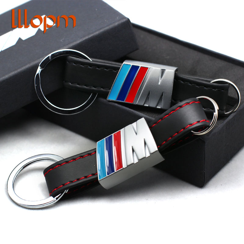 Car-styling Leather Belt Chrome Keyring Keychain Key Chain For BMW M Sport E46 E39 E60 F30 E90 F10 F30 E36 X5 E53 E30 E34 X1 X3 motorcycle accessories 3d soft rubber key ring keychain key chain keyring stickers for suzuki logo suzuki