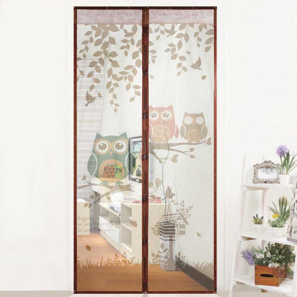 OUTAD Cute Cartoon Owl Pattern Magnet Mosquito Net Magnetic Anti Mosquito Curtains Door Curtains Prevent Mosquito Screen