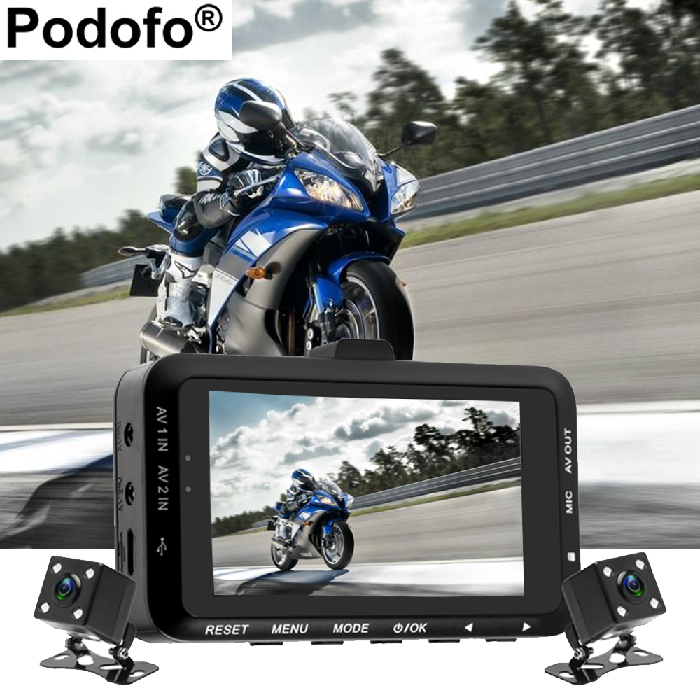 Podofo Motorcycle DVR Dual Lens Car Camera Rear View Car Mounted Biker Actio Action Dash Cam Front Back 3.0 LCD Video Recorder