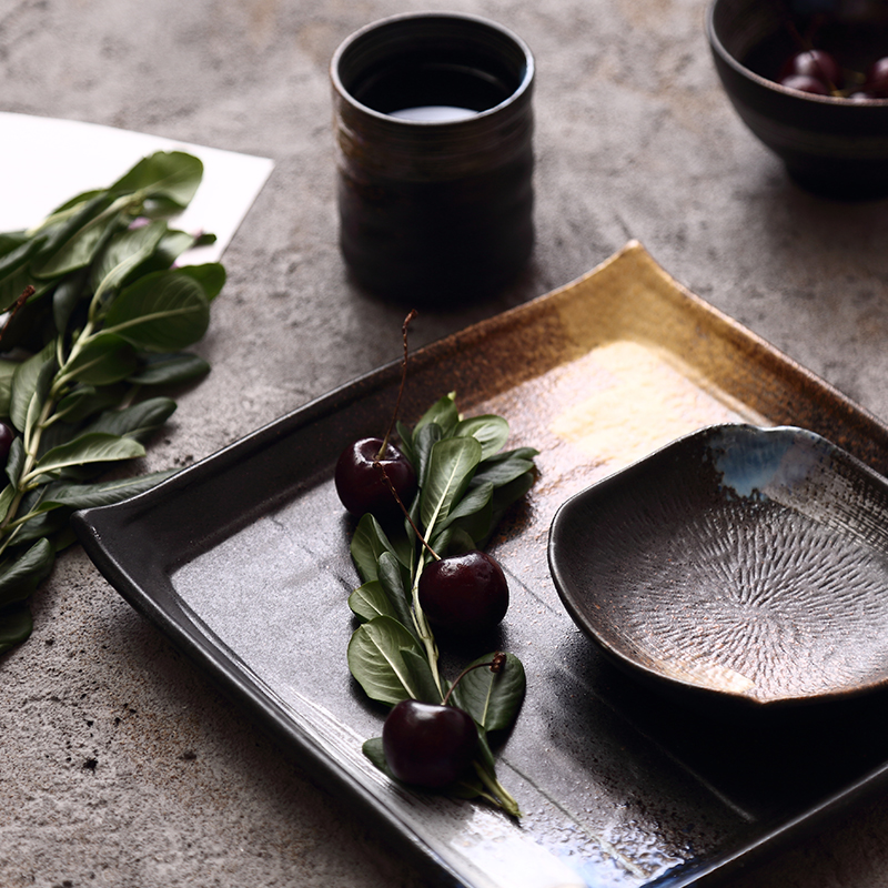 NIMITIME Japanese Style Stoneware Under Glaze Flame Kiln Ceramic Rice Bowl Long Dinner Plate Round Dish Tableware in Dishes Plates from Home Garden