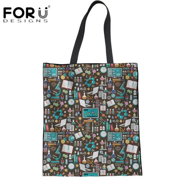 7cb7984f9eb4 FORUDESIGNS Cartoon Science Printing Women Eco-friendly Linen Shopping Bags  Ladies Summer Beach Bags Teens Girls Cloth Handbags