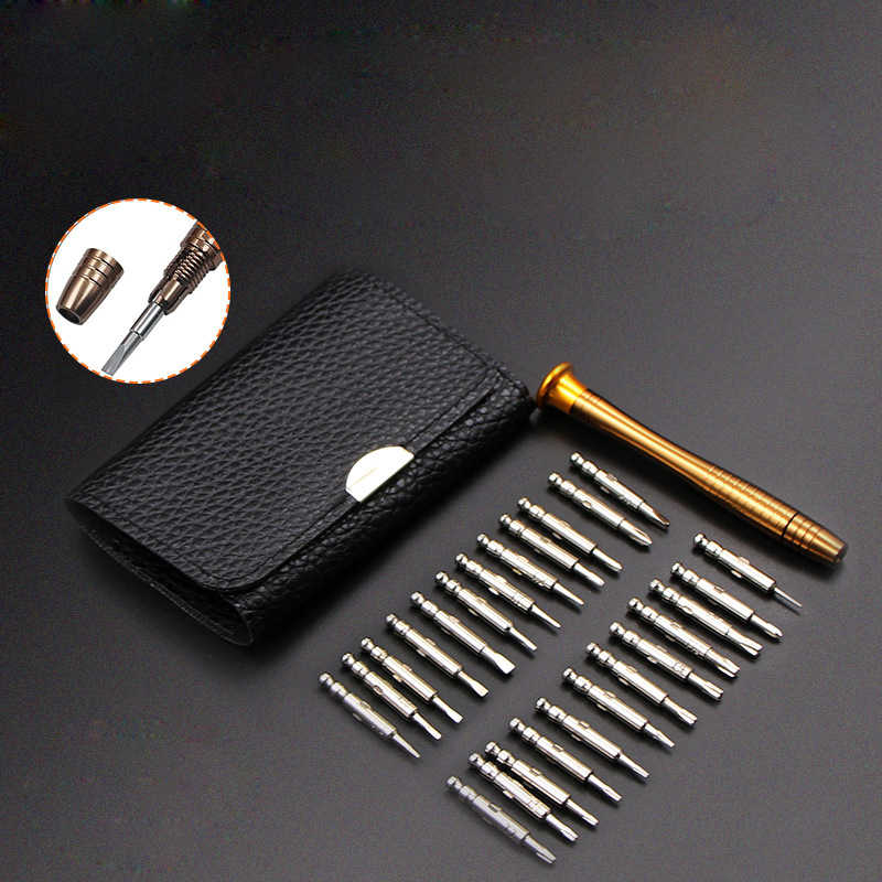 25 in 1 Multifunction Manual Precision Screwdriver Bit Set Leather Case Wallet Pocket Repair Tools for Mobile Phone PC Laptop