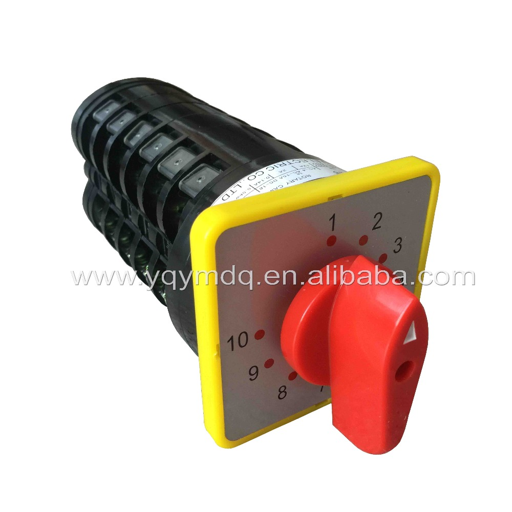 Rotary switch 10 postion 550V 16A 6 poles red dot LW5-16/6 main universal changeover cam switch manual silver contact 660v ui 10a ith 8 terminals rotary cam universal changeover combination switch