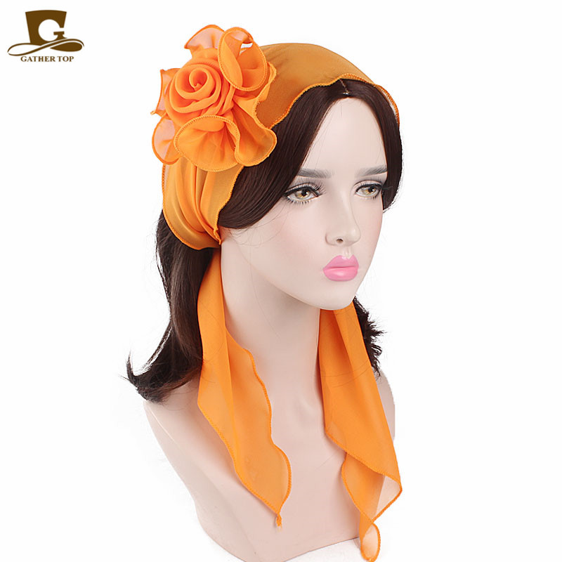 Spring Summer Women's Elegant Strench Chiffon Flower Hair Bands Headband Decorative   Headwear   Turban Headwrap Pre-Tied Bandana