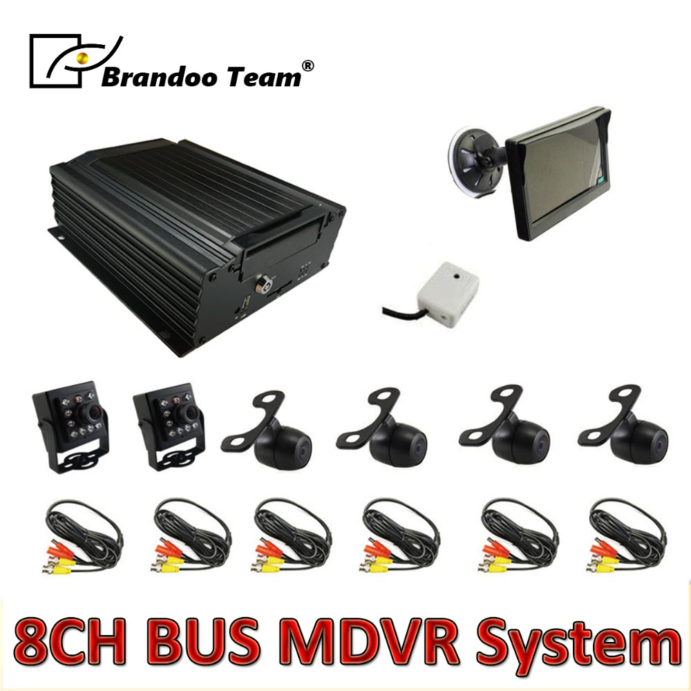 6pcs camera MDVR kit ,8channel HDD 960H car DVR kits for bus ,free shipping