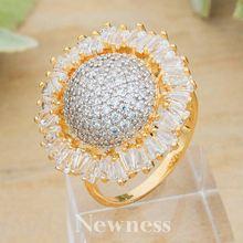 Newness 22mm Luxury Ball Shape Geometry Cubic Zironium Gold Color Engagement Dubai Naija Bridal Resizable Rings