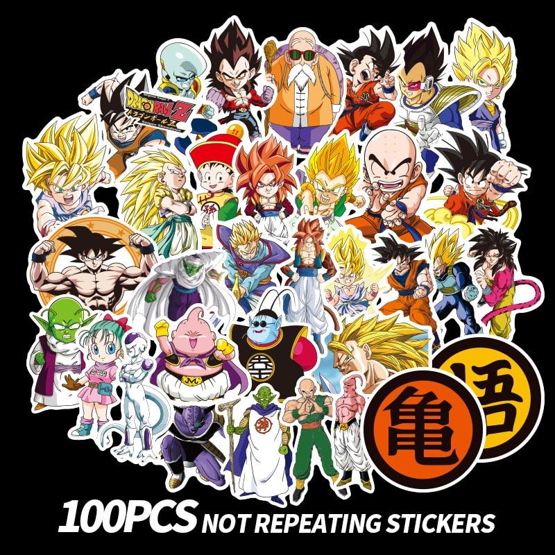 100pcs Anime Dragon Ball Stickers Super Saiyan Goku Cartoon Stickers Decal For Snowboard Luggage Car Fridge Laptop Sticker