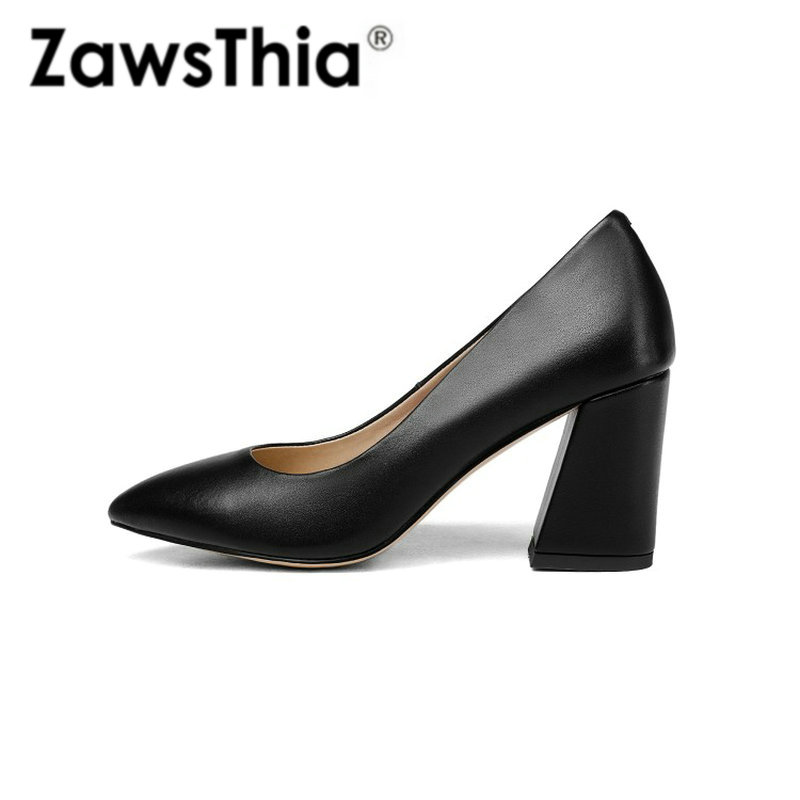 ZawsThia 2019 high quality women's shoes sexy square high heels pointed toe women heels pumps stilettos with leather insole