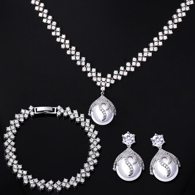 Nuevo Look de joyas boda Hecho con AAA Cubic Zirconia joyería de la perla Libre de La Alergia simulado Pearl Jewelry Sets