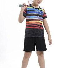Малыш Наборы для бадминтона, быстросохнущая мальчиков теннисные костюмы, детей набор для бадминтона, студент Настольный теннис одежда стол рубашка+ шорты