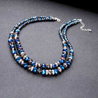 Blue & Black Glass Beads Chain Necklace 2019 New Choker Necklace For Women Fashion Jewelry Luxury Accessories Wholesale