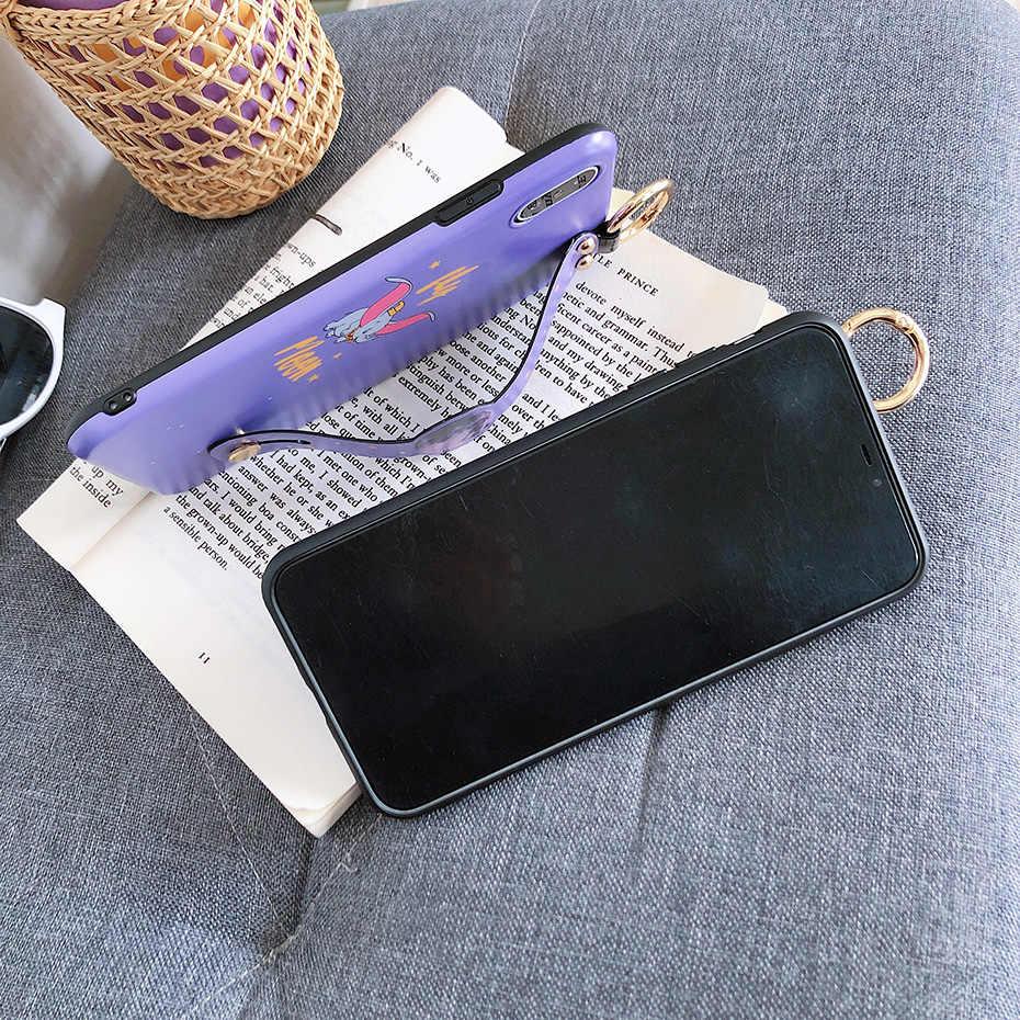 Dos desenhos animados dumbo caso para iphone 7 6 s 8 plus x xr bonito voando elefante pulseira de pulso telefone titular capa para iphone x xr xs max caso