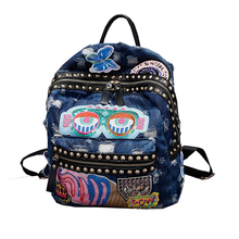 8c8adb74ec931 Genç kızlar için 2018 sıcak satış Denim okul sırt çantası bağbozumu Kadın  mavi Schoolbag sevimli çocuk