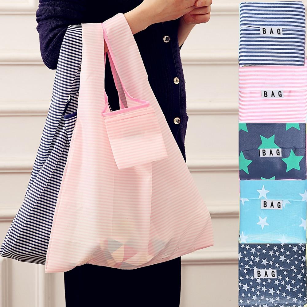 Women Shopping Bags Hot Creative Environmental Storage Bag Fashion Printing Foldable Green Tote Folding Pouch Handbags Storage