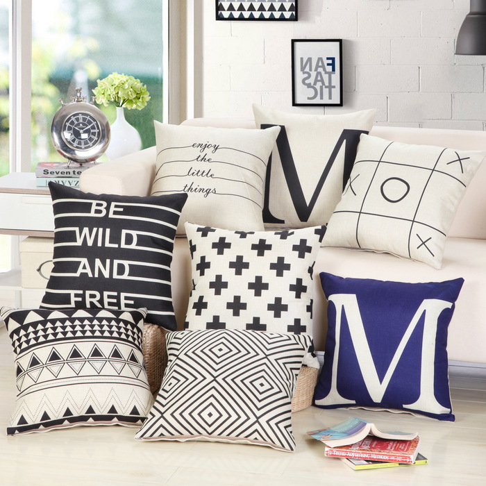45 * 45 cm decorativo nuevo diseño negro blanco abstracto geométrico Throw Pillowcase funda de almohada para sofá