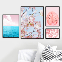 Surrealism Pink Sea Sky Leaf Flower Wall Art Canvas Painting Nordic Posters And Prints Wall Pictures For Living Room Home Decor surrealism