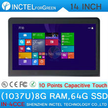 14 inch Touch Screen All in One PC 1037u with 10 point touch capacitive touch with 2*RS232 Linux 8G RAM 64G SSD