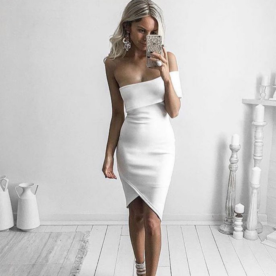 Seamyla 2019 New Winter Bandage Dress Strapless Bodycon Vestidos Womne Sexy Night Out Dresses Celebrity Evening