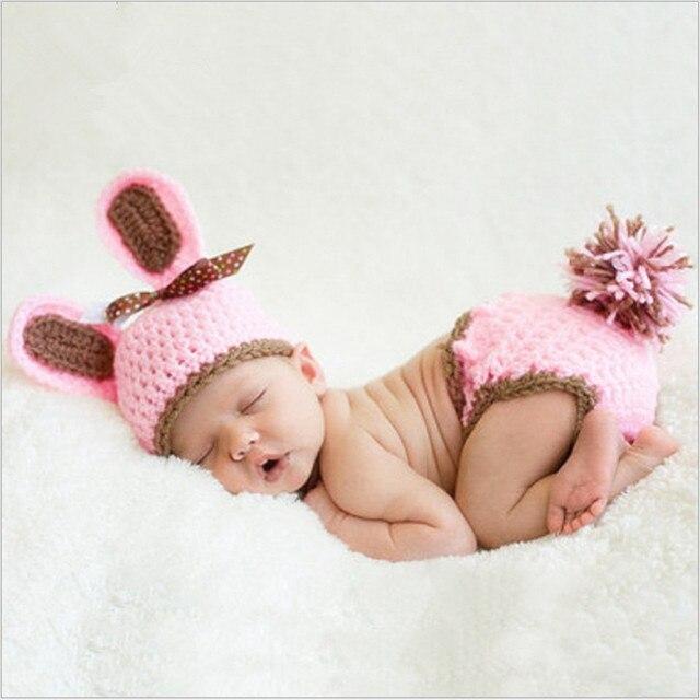 1629bf1df Bebé conejo Rosa traje para niñas crochet accesorios para una sesión de  fotos Vestidos de punto