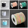 1mm (100m/roll) Round Elastic Colorful Cord for Jewelry Hair Accessories Cloth Costume, Nylon Outside Rubber Inside, Colorful