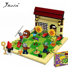 цена на 387pcs new ideas plants vs zombies struck game Building Blocks set Toys Compatible block toys gift for children action