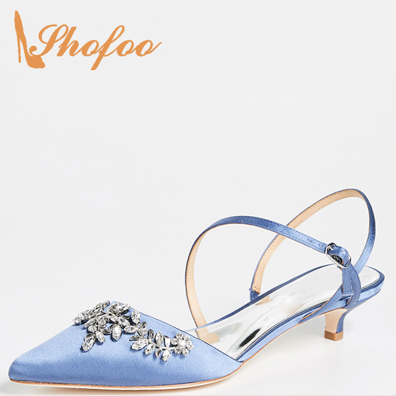 Crystals Flock Blue Pumps Ladies Woman Adult Solid Buckle Spring/Autumn Large size 11 14 Pointed Toe Kitten Heels Party Novelty