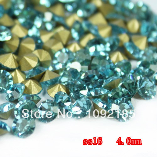 SS16(3.8-4.0mm) Aquamarine Color,10gross/lot Pointed Back Chaton Rhinestone for Jewelry Accessory! Free Shipping ss16 3 8 4 0mm aquamarine color 10gross lot pointed back chaton rhinestone for jewelry accessory free shipping