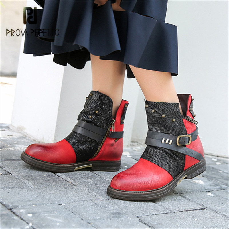 Prova Perfetto Fashion Red Genuine Leather Ankle Boots for Women Rivets Studded Short Booties Female Rubber Flat Botas Mujer prova perfetto black ankle boots for women rivets studded flat autumn botas mujer genuine leather platform rubber martin boots