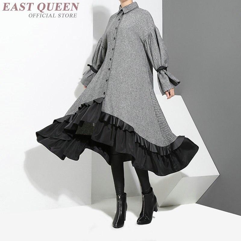 Spring dress 2018 women fashion stiching elegant ladies dress shirt women AA3295 Y